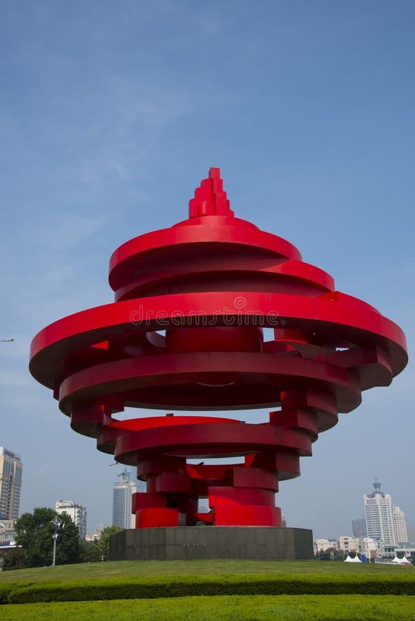 Asian China, Shandong Qingdao, Sculpture, May Wind. Asian China, Qingdao, Shandong Province,wusi Square ,Theme Sculpture May winds stock images