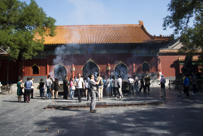 Asian Chinese, Beijing, historic buildings, The Lama Temple. Asian Chinese, Beijing, Lama Temple, temples of Tibetan Buddhism, its architectural style is very stock image