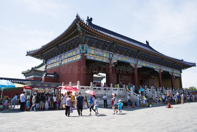 Asian Chinese, Beijing, Tiantan Park, historic buildings. China Asia, Beijing, the Tiantan, a world cultural heritage site, emperor worship heaven, pray for a royalty free stock image