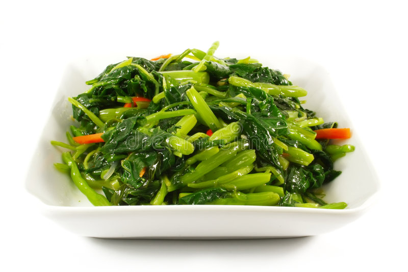 Asian Chinese Cooking Style Stir Fry Vegetable Dis. H on White Plate royalty free stock photography