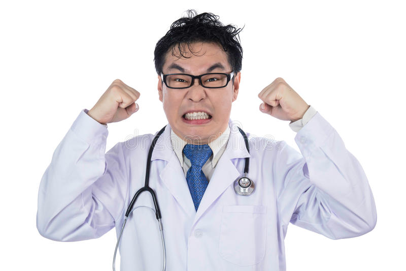 Asian Chinese male frustrated crazy doctor screaming stock photography