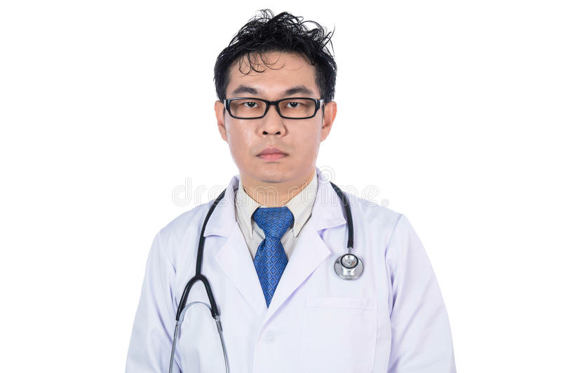 Asian Chinese male frustrated doctor with stethoscope stock images