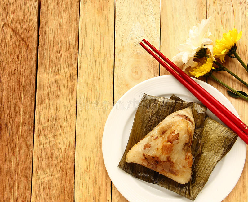 Asian Chinese rice dumplings or zongzi. Isolated on white background royalty free stock images