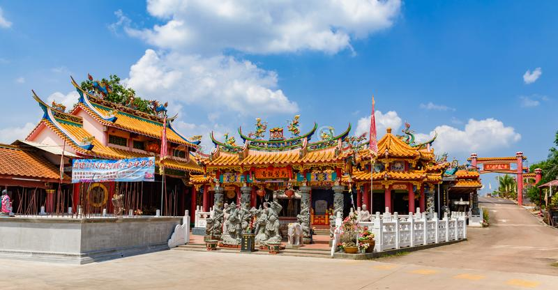 Asian Chinese temple, Muar, Malaysia. Johor, Malaysia - 03 July 2016: Panorama view of colorful Asian Chinese temple architecture, Muar, Malaysia stock photo