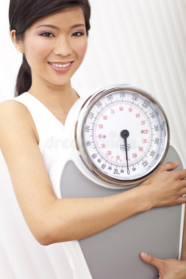 Download Asian Chinese Woman With Weighing Scales At Gym Stock Photo - Image: 20162284