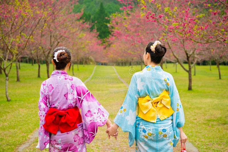 Asian chinese women travel to Japan wearing kimono. Asian chinese women travel to Japan wearing traditional kimono clothing going to the streets of cherry tree royalty free stock image
