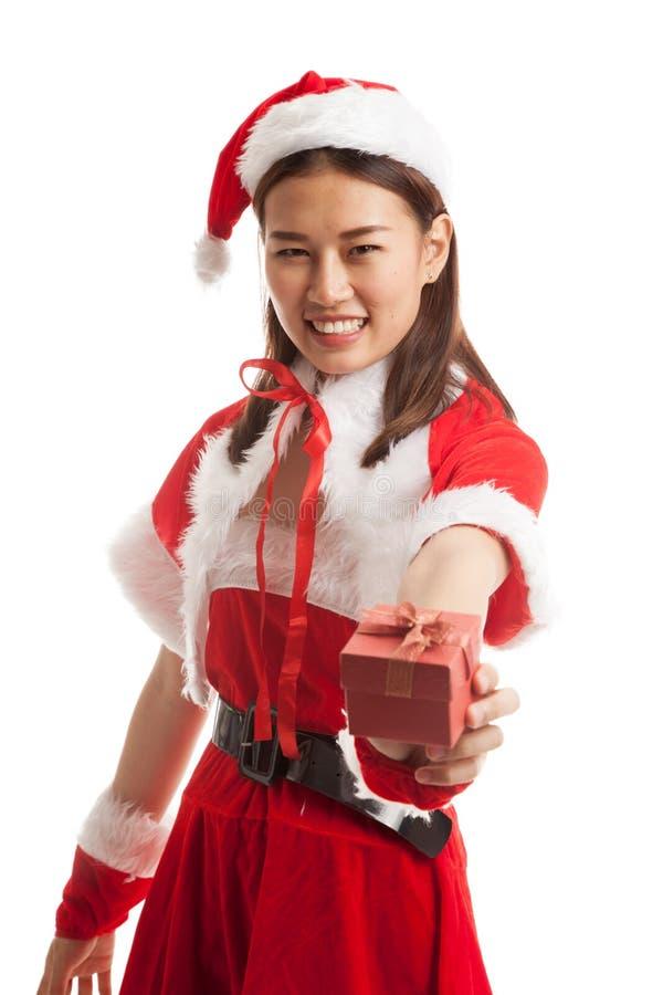 Asian Christmas Santa Claus girl and gift box. stock image