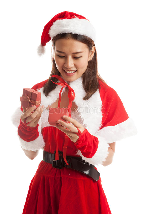 Asian Christmas Santa Claus girl and gift box. stock photography