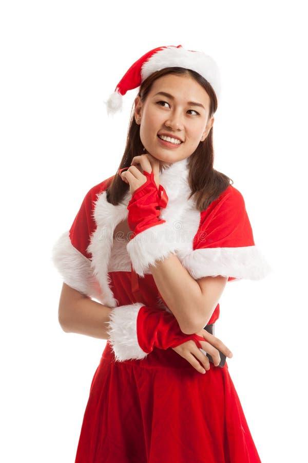 Asian Christmas Santa Claus girl. stock photos
