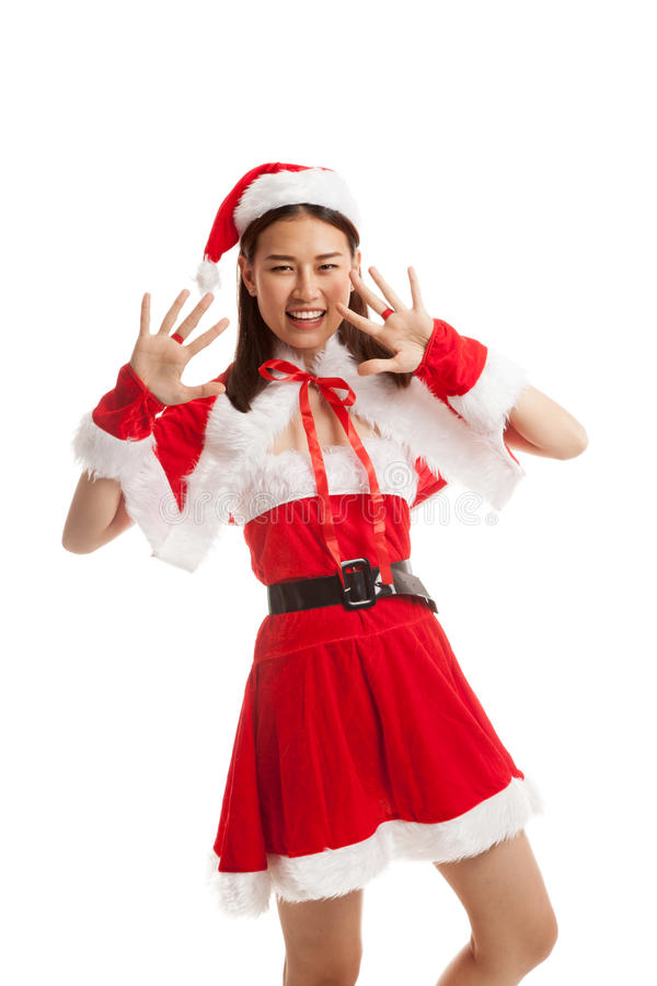 Asian Christmas Santa Claus girl. stock image