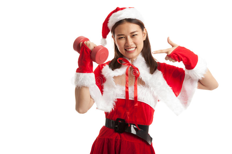Asian Christmas Santa Claus girl point to red dumbbell. stock image