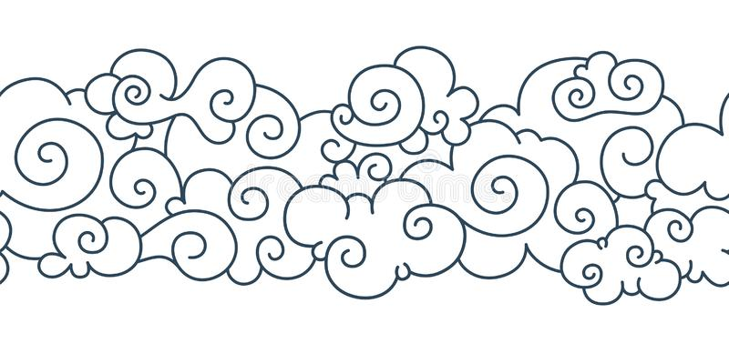 Asian cloud pattern. Chinese japanese oriental border hand drawn tibetan sky ornament elements. Vector decorative curly royalty free illustration