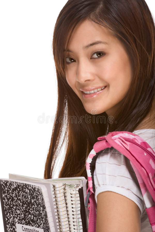 Asian college student with backpack and notebooks royalty free stock photos