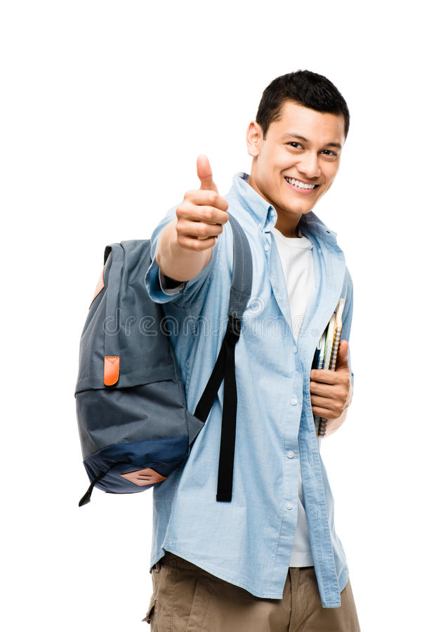 Asian college student happy thumbs up royalty free stock photography