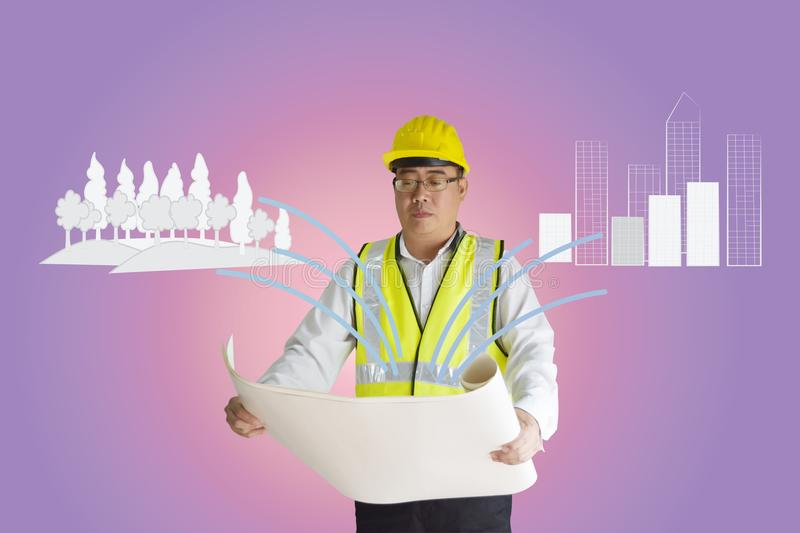 Asian construction engineer holding paper.Forest and building are drawn doodle lines.Concept of environmental balance. stock illustration