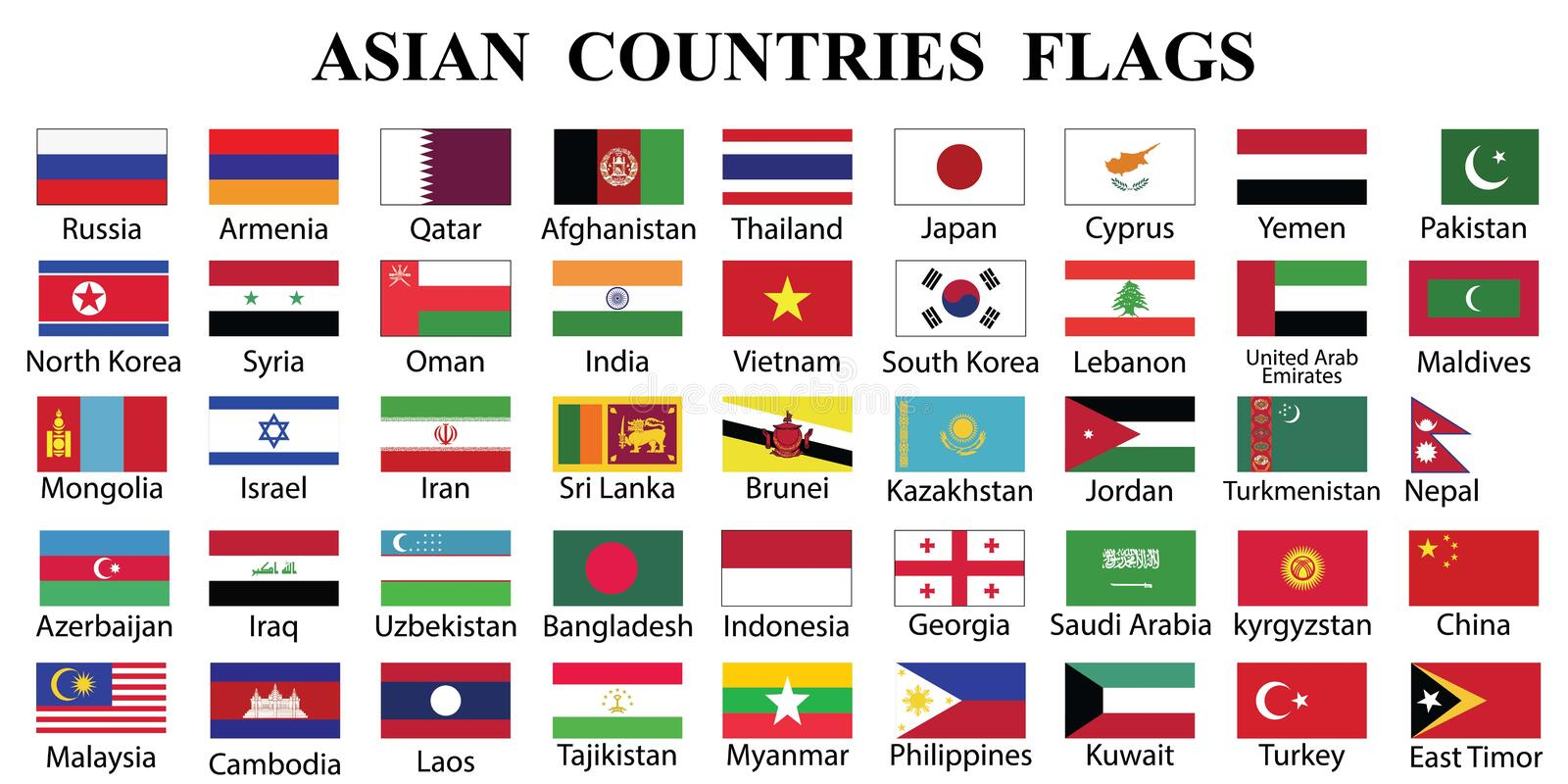 Asian Countries Flag Collection vector illustration