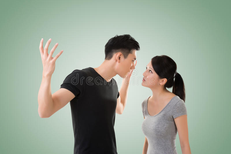 Asian couple argue. Closeup portrait with two people royalty free stock photography