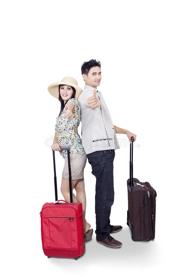 Asian Couple Bring Luggage On White Stock Photos