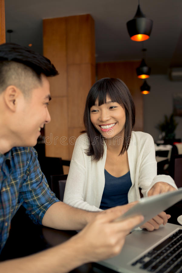 Download Asian couple in cafe stock photo. Image of young, technology -  51909178