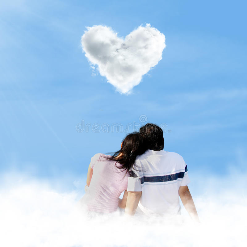 Download Asian Couple Looking At Love Clouds Stock Photo - Image: 28749470