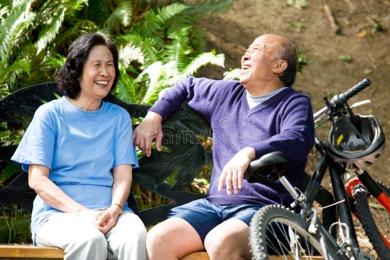 asian couple senior στοκ φωτογραφία