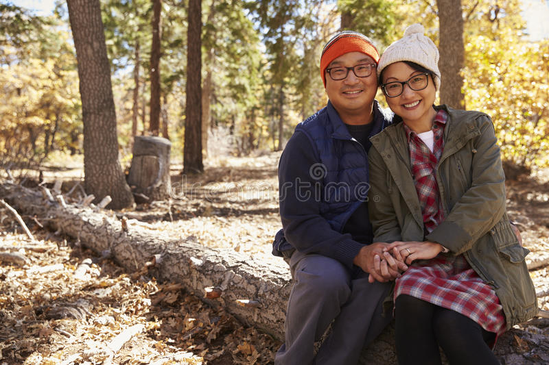 Asian couple sitting in forest looking to camera, copy space royalty free stock photography