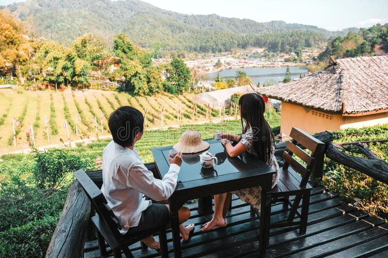 Asian couple travel at Lee wine Rak Thai, Chinese settlement, Mae Hong Son, Thailand royalty free stock image