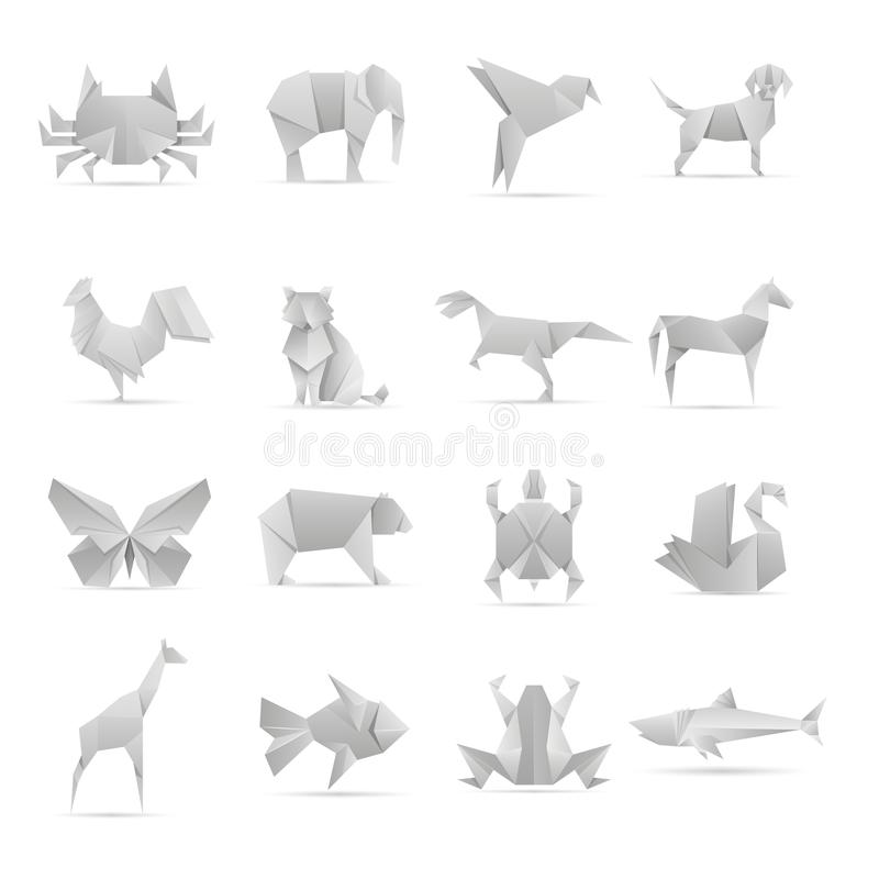 Asian creative origami animals vector collection. Animal geometric toy papers illustration vector illustration