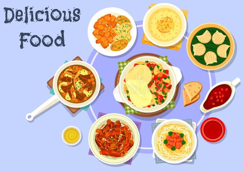 Asian cuisine dinner with dessert icon design stock illustration