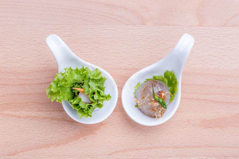 Asian cuisine healthy appetizers, fresh vegetable spring roll an royalty free stock images
