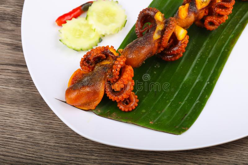 Octopus skewer royalty free stock photos
