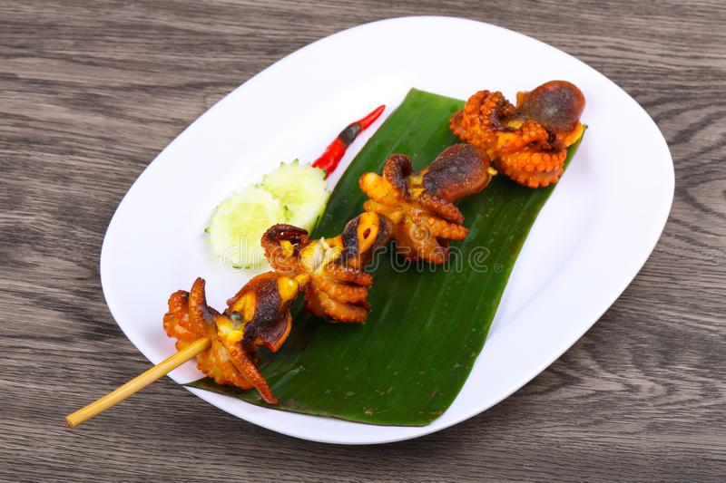 Octopus skewer stock photography