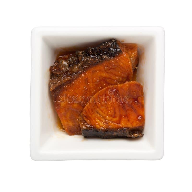 Asian cuisine - Pan griiled teriyaki salmon royalty free stock images