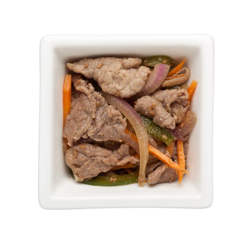 Asian cuisine - Stir fried beef slices stock images