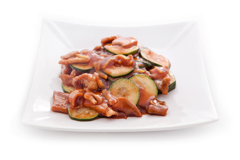 Asian cuisine zucchini with mushrooms stock images