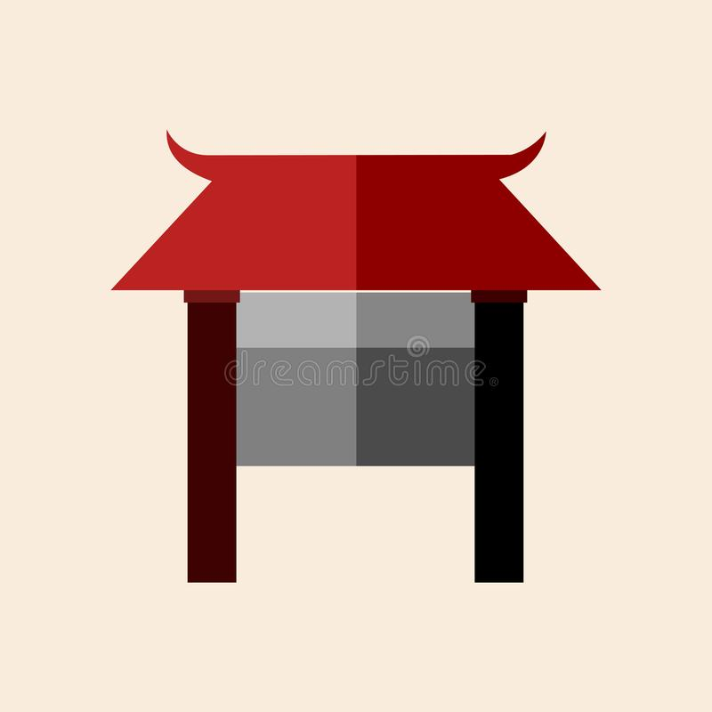 Asian Culture Front Gate Vector Illustration Graphic royalty free illustration