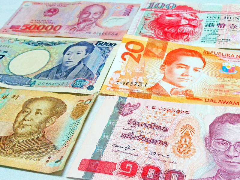Asian currency stock image