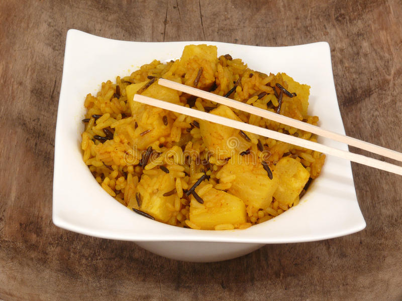 Asian curry rice with fruits (vegetarian). Asian curry rice with vegetables (vegetarian stock images