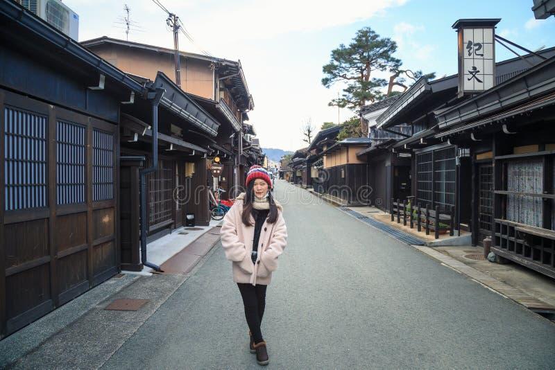 Tourist Girl in old town Takayama, Japan stock image