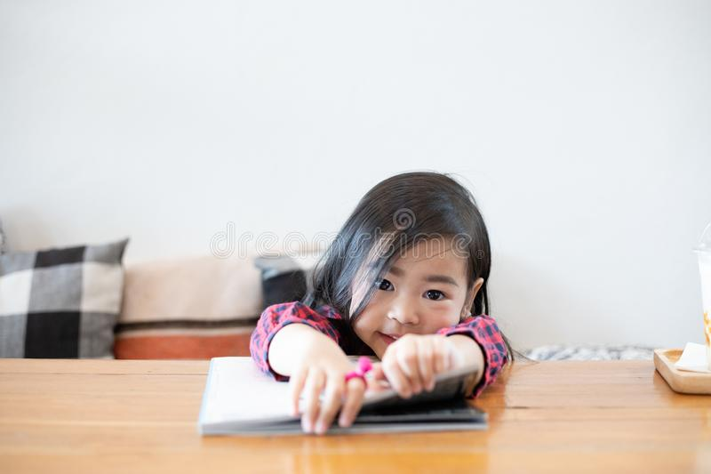 Asian Cute girls are reading books stock photo