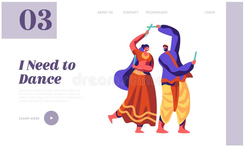 Asian Dance at National Festival in India Landing Page. Classical Dancing Show. Man Dancer Performing Choreography at Ceremonial stock illustration