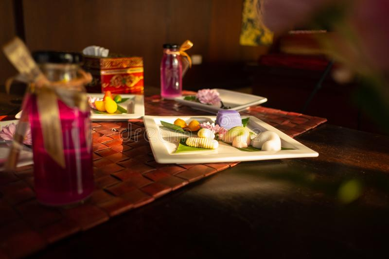 Asian dessert on the table royalty free stock photos