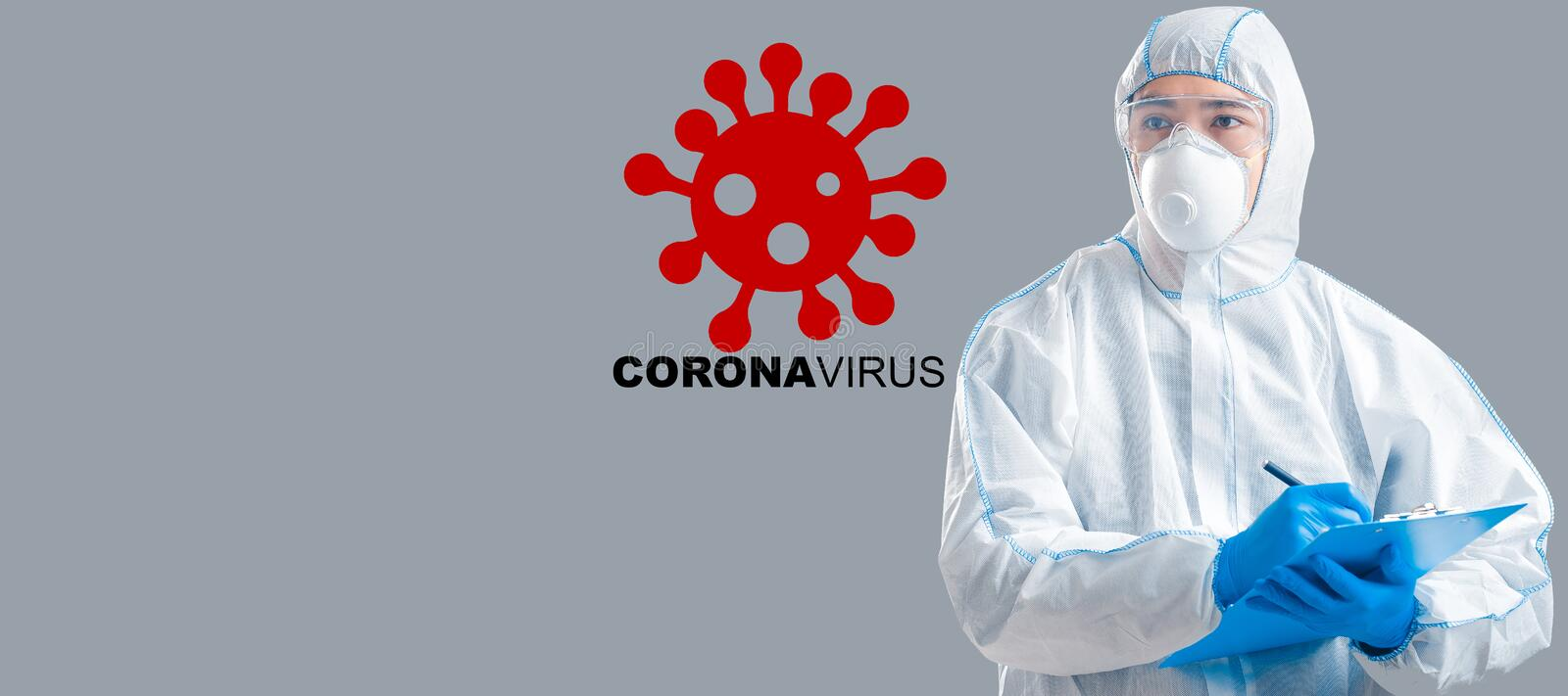 Asian doctor wearing protective suit on grey background, collage with bacteria and word CORONAVIRUS. Panorama. COVID-19 quarantine. Asian doctor wearing stock photography