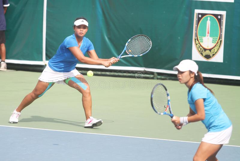 Asian double tennis royalty free stock image