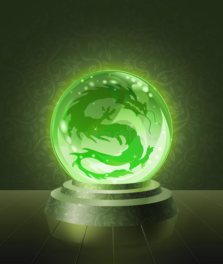 Asian dragon inside the crystal scrying ball