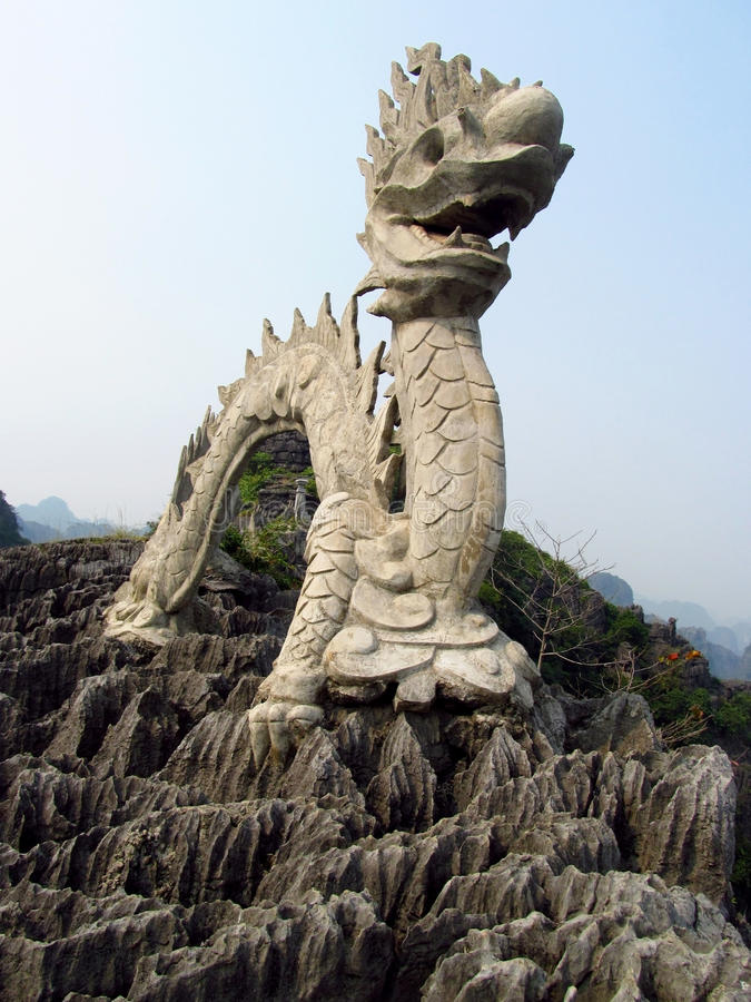 Asian Dragon Marble Sculpture At The Mountain Top Stock ...