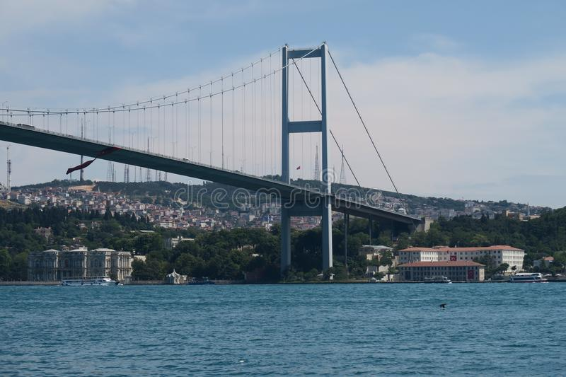 Asian End of Bosphorus Bridge and Strait, as seen from Ortakoy Mosque in Istanbul, Turkey royalty free stock photos