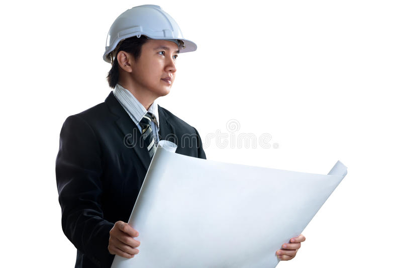 Asian engineer. Isolated over white royalty free stock photography
