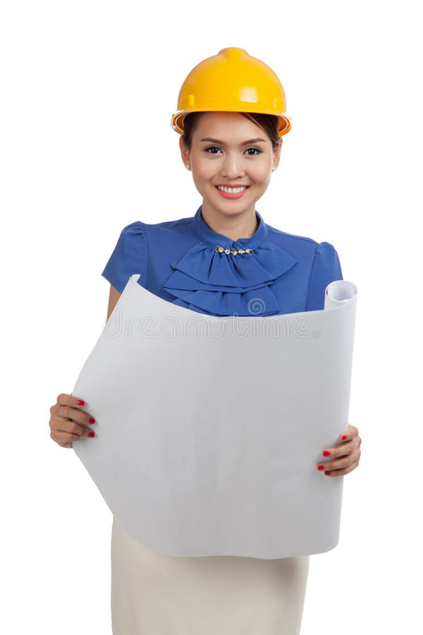 Asian engineer woman with blueprints stock photography