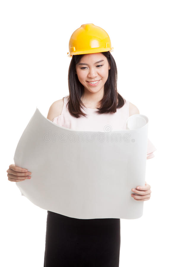 Asian engineer woman with blueprints. Asian engineer woman with blueprints isolated on white background royalty free stock photography